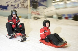 Pictures of sledding at Chillfactore Manchester for use in marketing collateral
